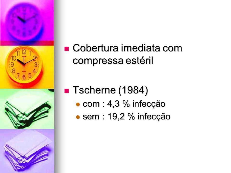 Cobertura imediata com compressa estéril Cobertura imediata com compressa estéril Tscherne (1984) Tscherne (1984) com : 4,3 % infecção com : 4,3 % inf