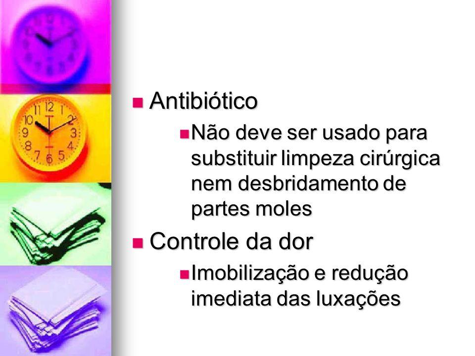 Antibiótico Antibiótico Não deve ser usado para substituir limpeza cirúrgica nem desbridamento de partes moles Não deve ser usado para substituir limp