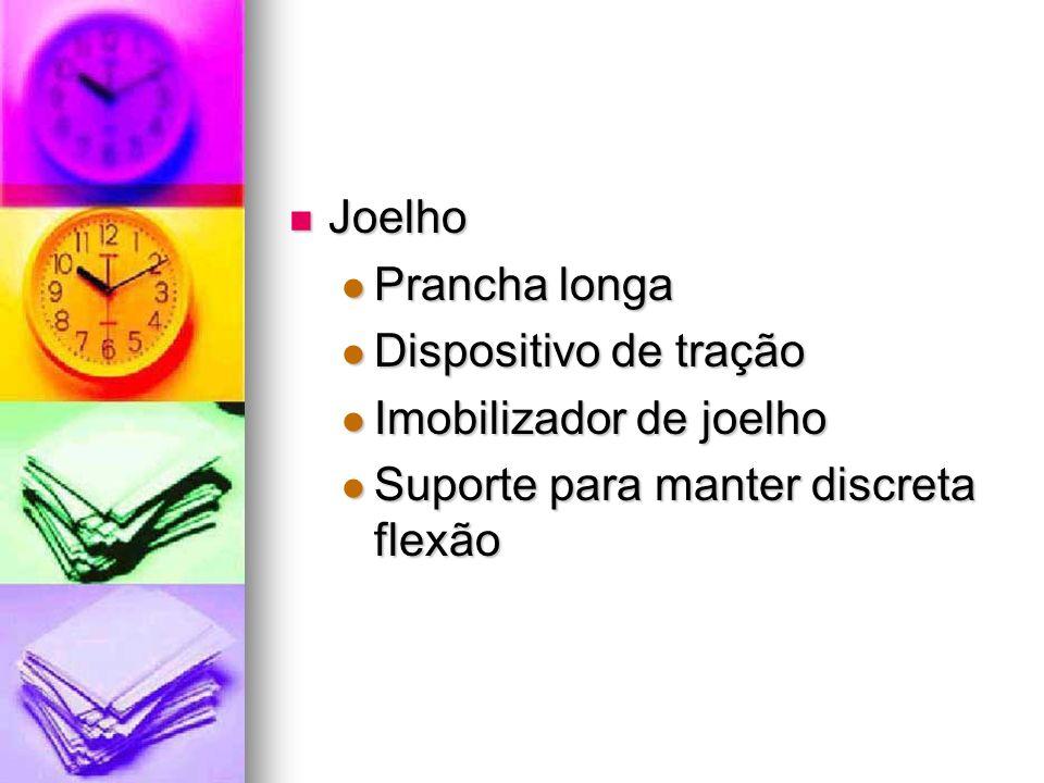 Joelho Joelho Prancha longa Prancha longa Dispositivo de tração Dispositivo de tração Imobilizador de joelho Imobilizador de joelho Suporte para mante