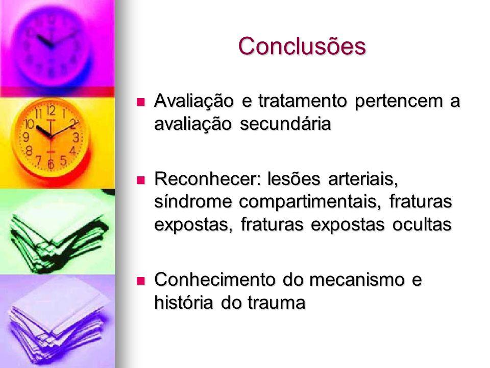 Conclusões Avaliação e tratamento pertencem a avaliação secundária Avaliação e tratamento pertencem a avaliação secundária Reconhecer: lesões arteriai
