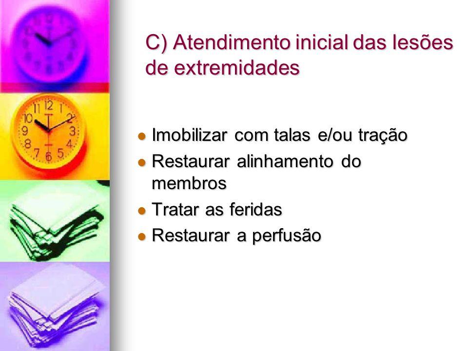 C) Atendimento inicial das lesões de extremidades Imobilizar com talas e/ou tração Imobilizar com talas e/ou tração Restaurar alinhamento do membros R