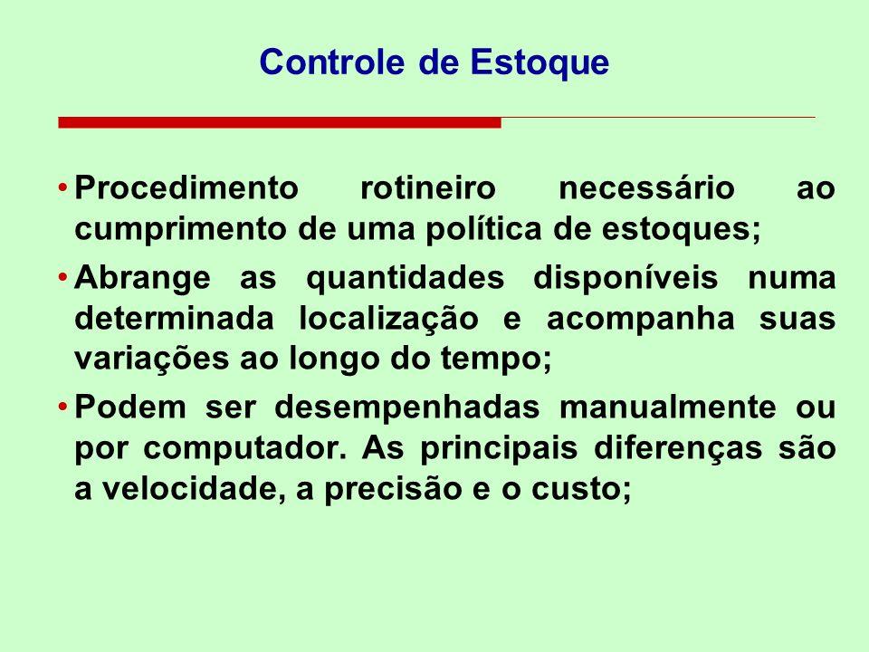 Controle de Estoque Procedimento rotineiro necessário ao cumprimento de uma política de estoques; Abrange as quantidades disponíveis numa determinada