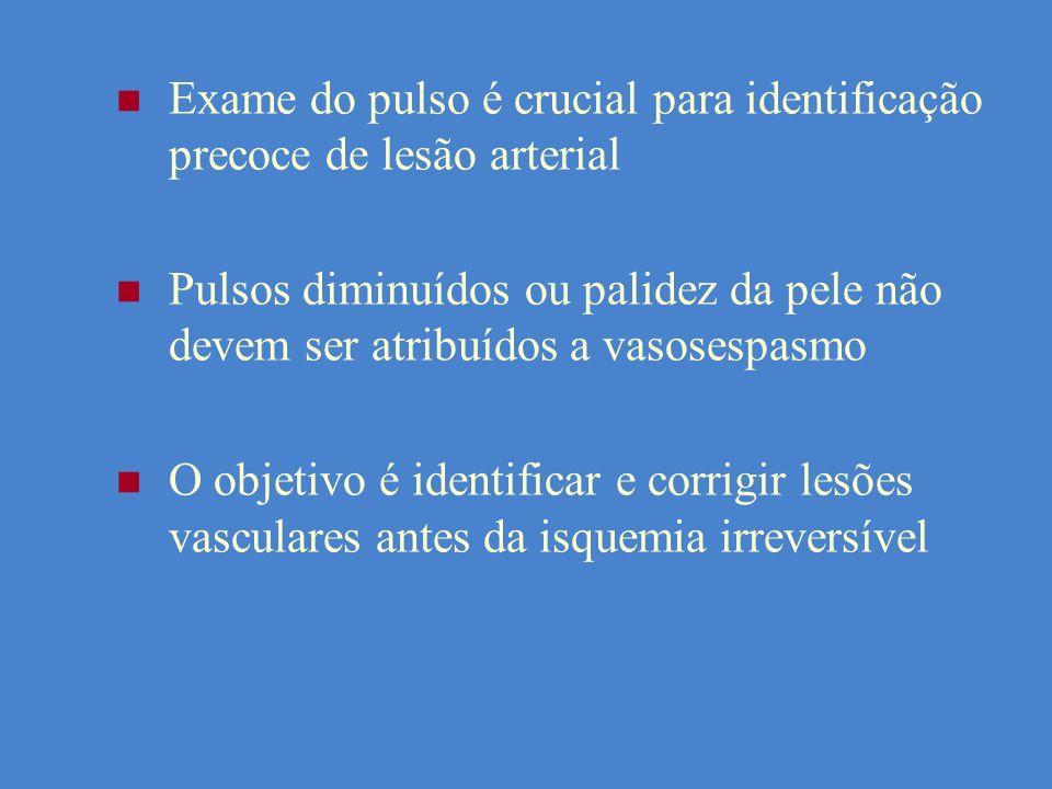 Exame do pulso é crucial para identificação precoce de lesão arterial Pulsos diminuídos ou palidez da pele não devem ser atribuídos a vasosespasmo O o