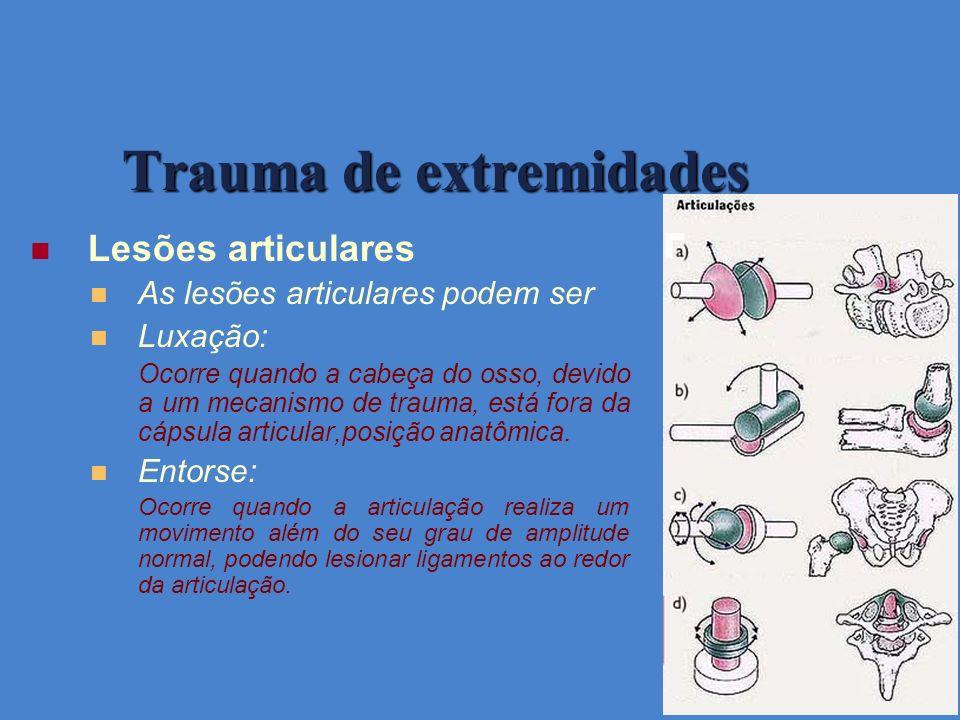Trauma de extremidades Lesões articulares As lesões articulares podem ser Luxação: Ocorre quando a cabeça do osso, devido a um mecanismo de trauma, es