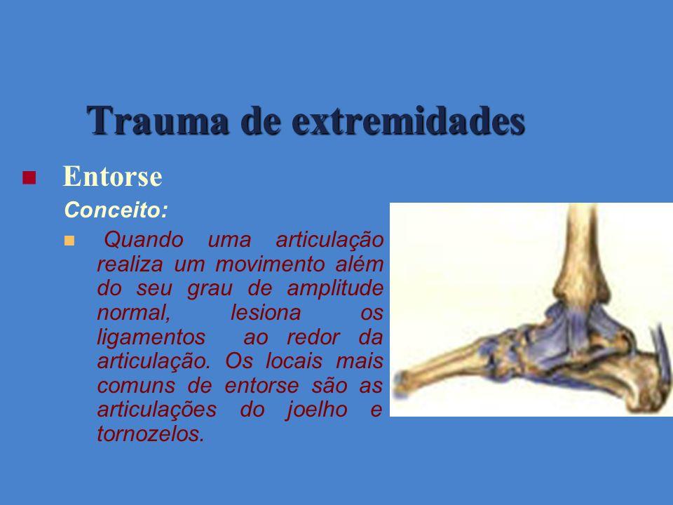 Entorse Conceito: Quando uma articulação realiza um movimento além do seu grau de amplitude normal, lesiona os ligamentos ao redor da articulação. Os