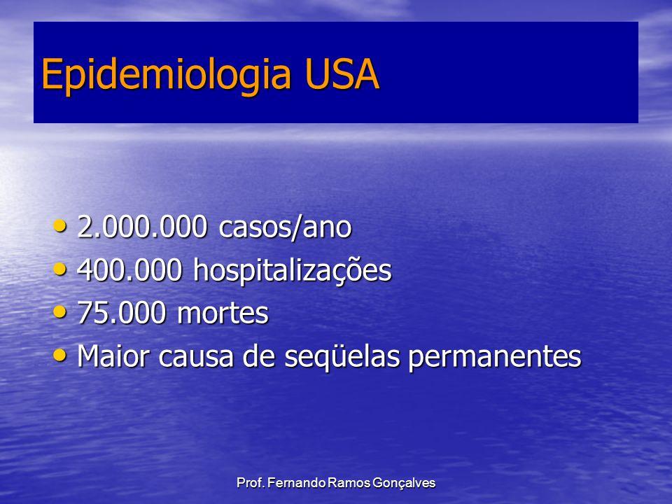 Prof. Fernando Ramos Gonçalves Epidemiologia USA 2.000.000 casos/ano 2.000.000 casos/ano 400.000 hospitalizações 400.000 hospitalizações 75.000 mortes