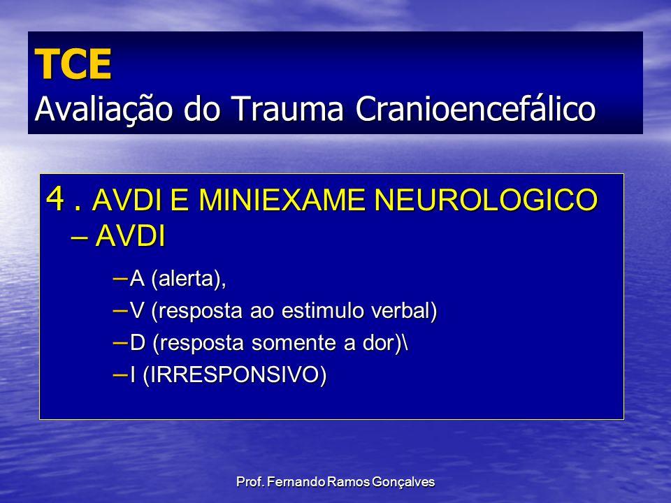 4. AVDI E MINIEXAME NEUROLOGICO – AVDI – A (alerta), – V (resposta ao estimulo verbal) – D (resposta somente a dor)\ – I (IRRESPONSIVO) TCE Avaliação