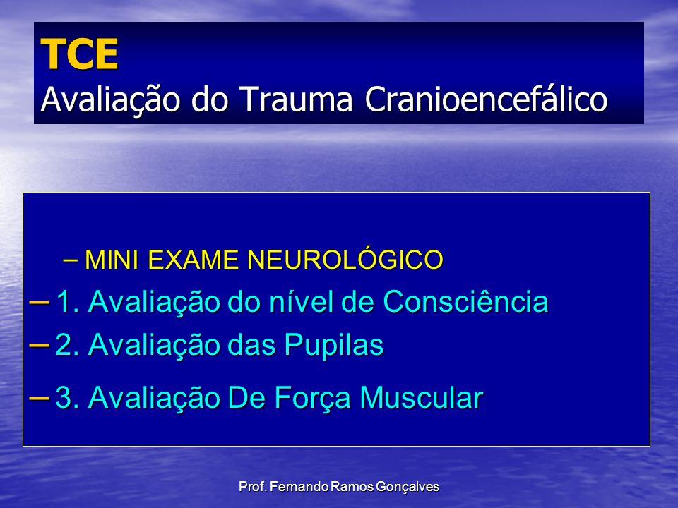 Prof. Fernando Ramos Gonçalves – MINI EXAME NEUROLÓGICO – 1. Avaliação do nível de Consciência – 2. Avaliação das Pupilas – 3. Avaliação De Força Musc