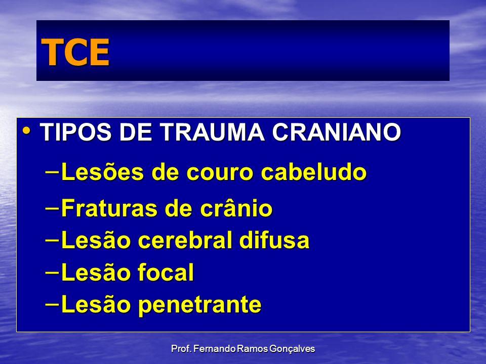 Prof. Fernando Ramos Gonçalves TCE TIPOS DE TRAUMA CRANIANO TIPOS DE TRAUMA CRANIANO – Lesões de couro cabeludo – Fraturas de crânio – Lesão cerebral