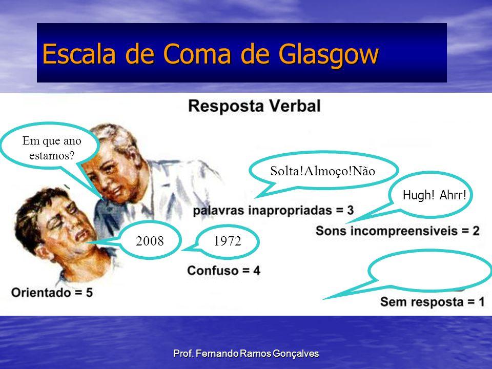 Prof. Fernando Ramos Gonçalves Escala de Coma de Glasgow Em que ano estamos? 2008 1972 Solta!Almoço!Não Hugh! Ahrr!