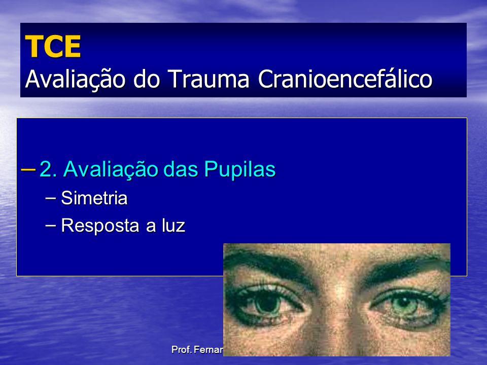Prof. Fernando Ramos Gonçalves – 2. Avaliação das Pupilas – Simetria – Resposta a luz TCE Avaliação do Trauma Cranioencefálico