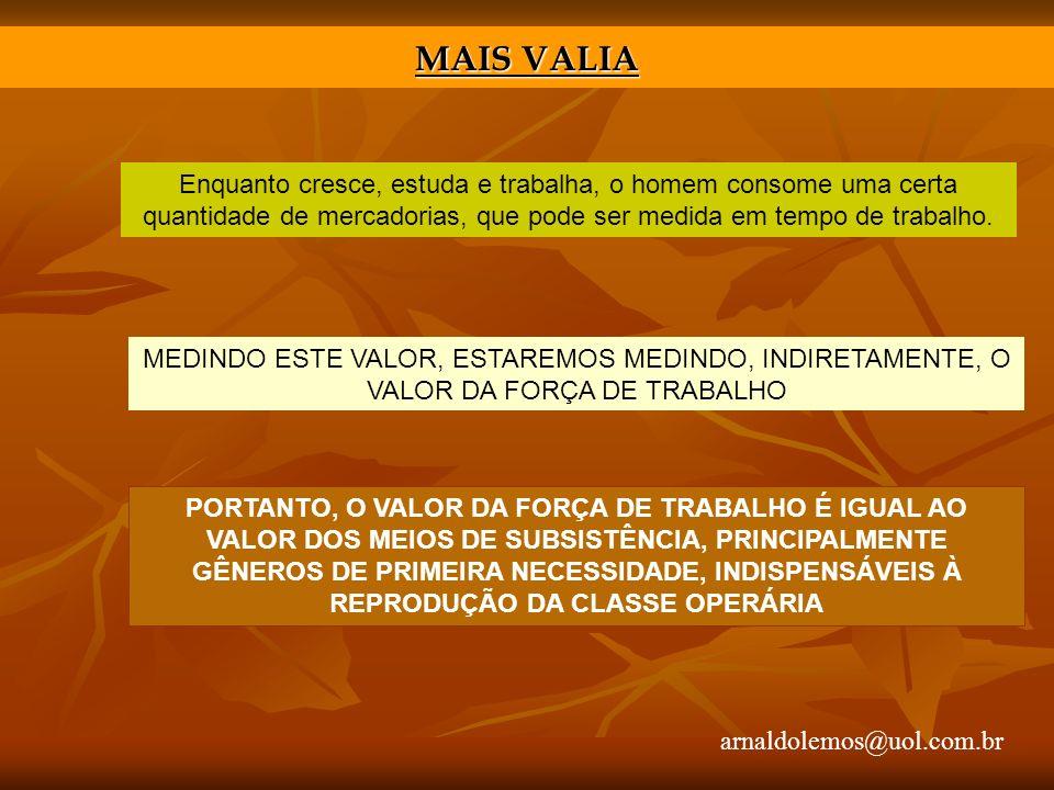 arnaldolemos@uol.com.br MAIS VALIA Enquanto cresce, estuda e trabalha, o homem consome uma certa quantidade de mercadorias, que pode ser medida em tempo de trabalho.