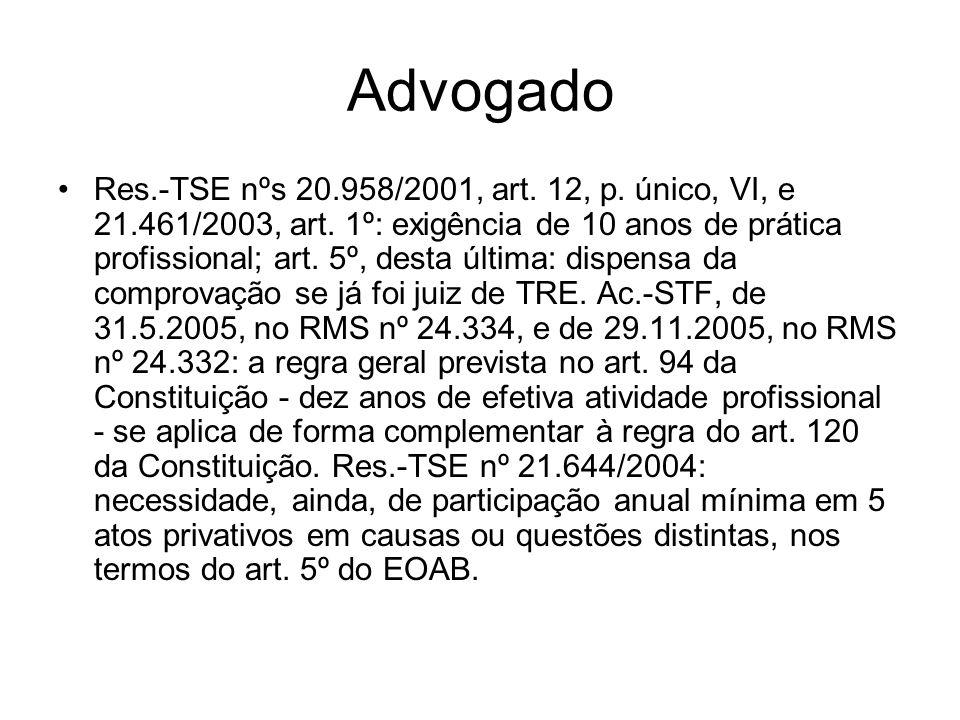Advogado Res.-TSE nºs 20.958/2001, art. 12, p. único, VI, e 21.461/2003, art. 1º: exigência de 10 anos de prática profissional; art. 5º, desta última: