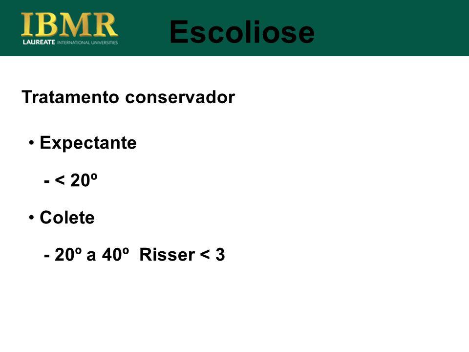 Tratamento conservador Escoliose Expectante - < 20º Colete - 20º a 40º Risser < 3