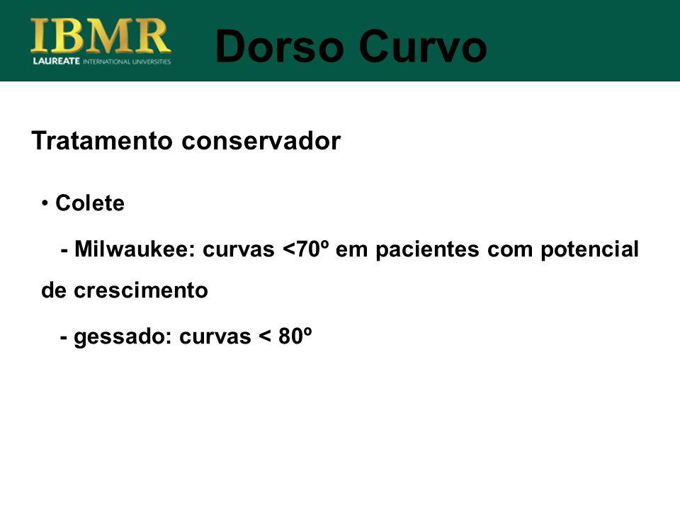 Tratamento conservador Dorso Curvo Colete - Milwaukee: curvas <70º em pacientes com potencial de crescimento - gessado: curvas < 80º