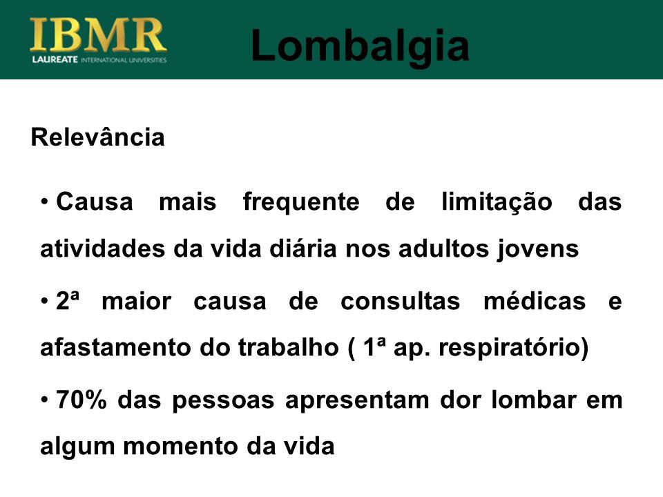 Relevância Lombalgia Causa mais frequente de limitação das atividades da vida diária nos adultos jovens 2ª maior causa de consultas médicas e afastame