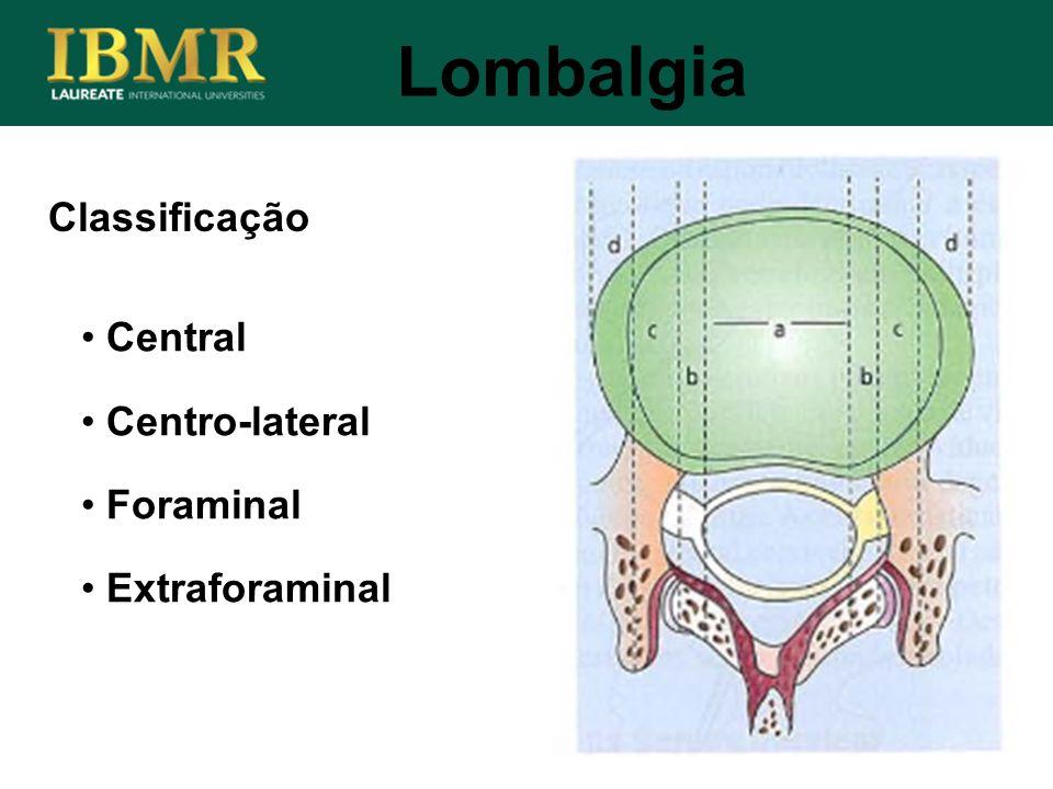 Classificação Lombalgia Central Centro-lateral Foraminal Extraforaminal