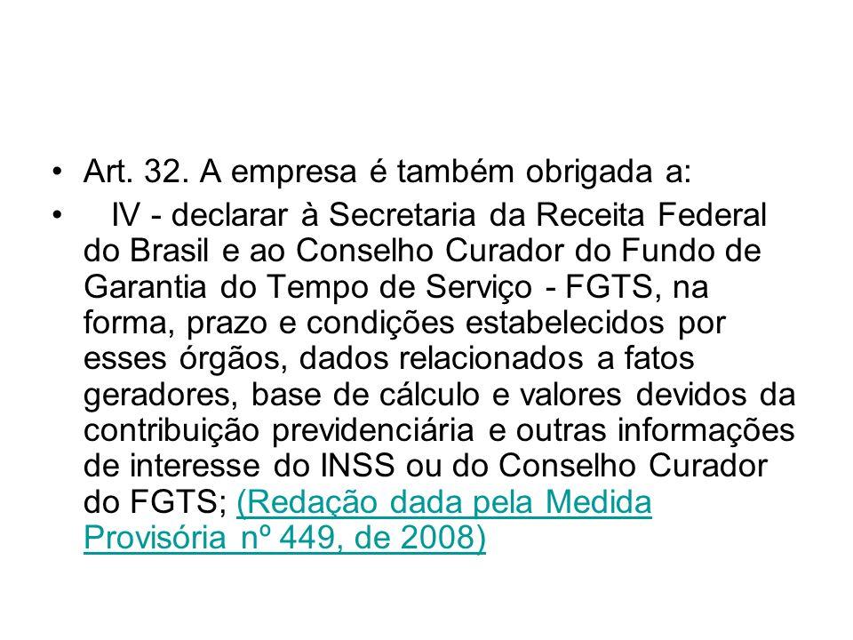 Art. 32. A empresa é também obrigada a: IV - declarar à Secretaria da Receita Federal do Brasil e ao Conselho Curador do Fundo de Garantia do Tempo de