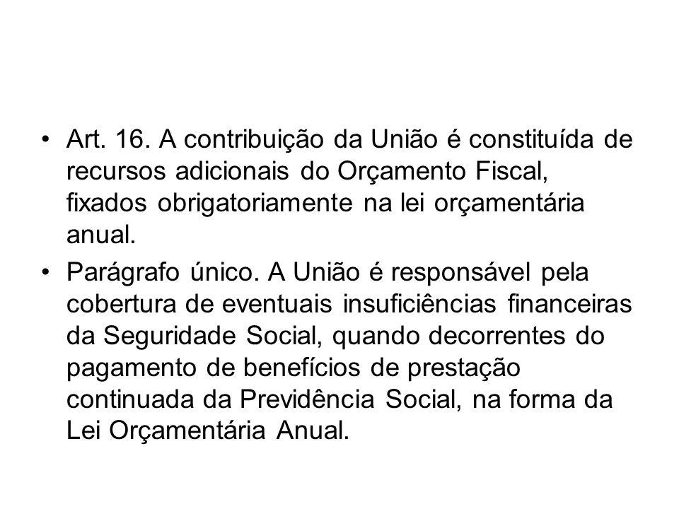 Art. 16. A contribuição da União é constituída de recursos adicionais do Orçamento Fiscal, fixados obrigatoriamente na lei orçamentária anual. Parágra