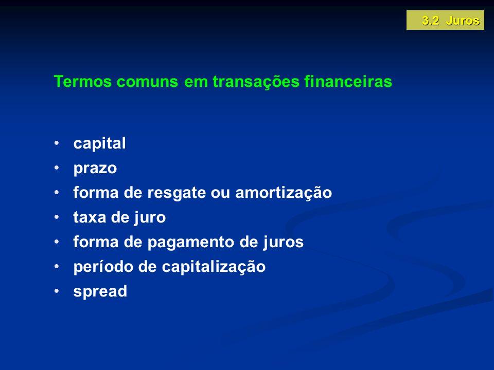 Termos comuns em transações financeiras capital prazo forma de resgate ou amortização taxa de juro forma de pagamento de juros período de capitalizaçã