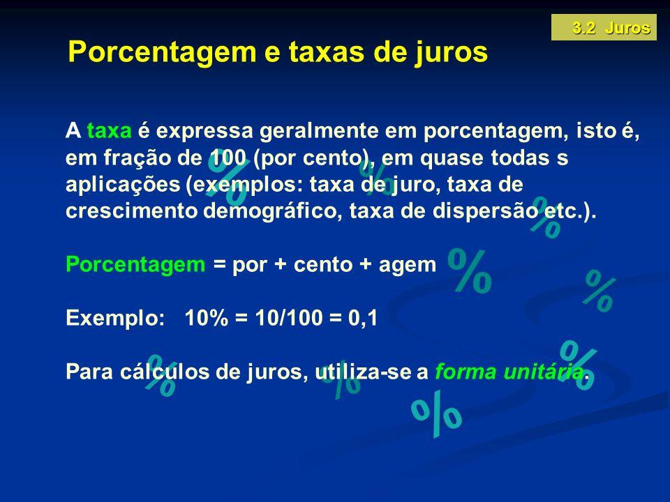Porcentagem e taxas de juros A taxa é expressa geralmente em porcentagem, isto é, em fração de 100 (por cento), em quase todas s aplicações (exemplos: