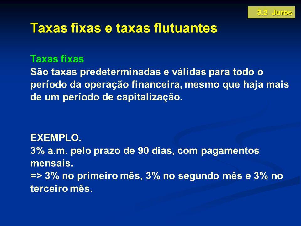 Taxas fixas e taxas flutuantes Taxas fixas São taxas predeterminadas e válidas para todo o período da operação financeira, mesmo que haja mais de um p