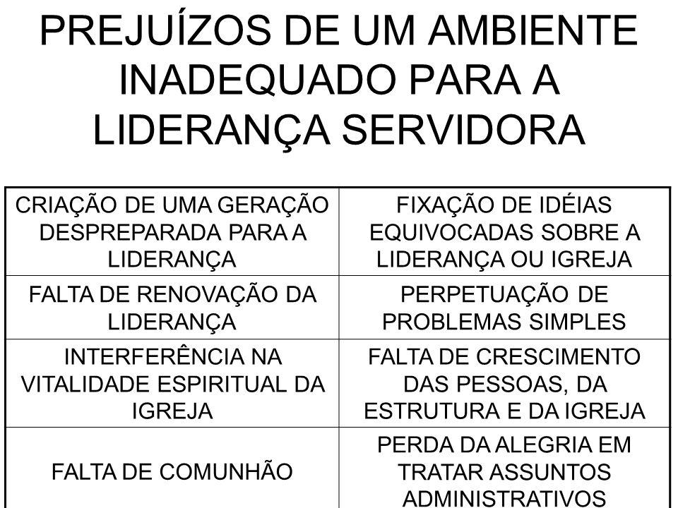 PREJUÍZOS DE UM AMBIENTE INADEQUADO PARA A LIDERANÇA SERVIDORA CRIAÇÃO DE UMA GERAÇÃO DESPREPARADA PARA A LIDERANÇA FIXAÇÃO DE IDÉIAS EQUIVOCADAS SOBRE A LIDERANÇA OU IGREJA FALTA DE RENOVAÇÃO DA LIDERANÇA PERPETUAÇÃO DE PROBLEMAS SIMPLES INTERFERÊNCIA NA VITALIDADE ESPIRITUAL DA IGREJA FALTA DE CRESCIMENTO DAS PESSOAS, DA ESTRUTURA E DA IGREJA FALTA DE COMUNHÃO PERDA DA ALEGRIA EM TRATAR ASSUNTOS ADMINISTRATIVOS