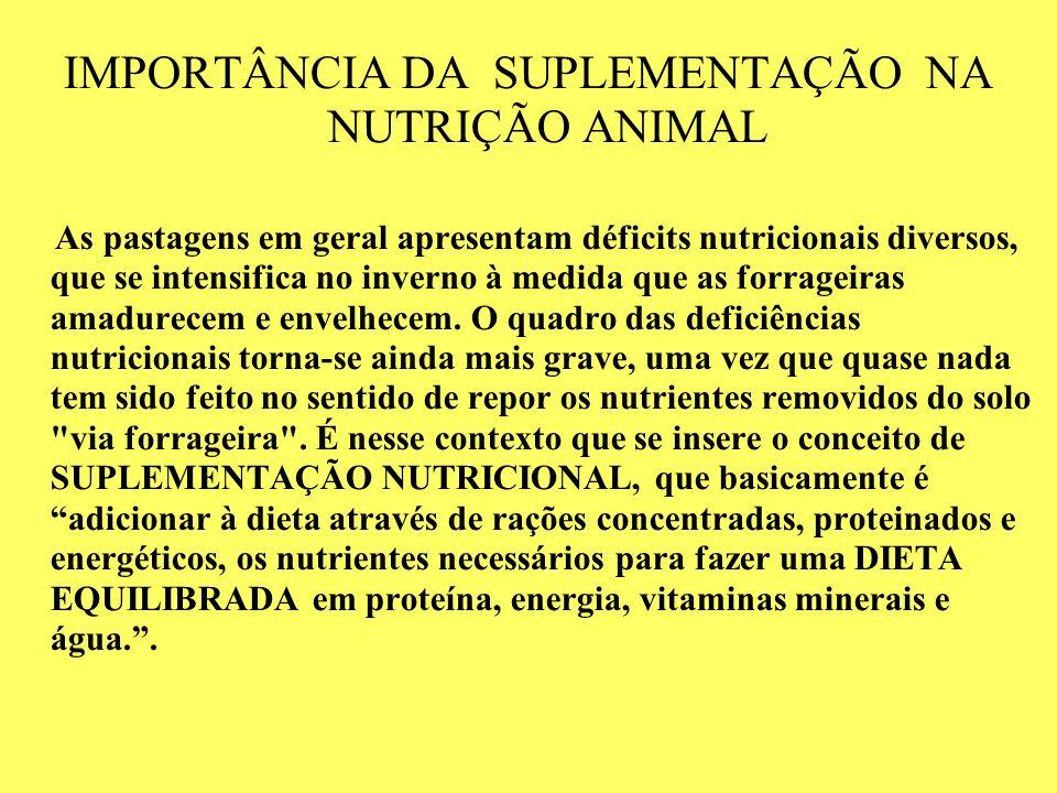IMPORTÂNCIA DA SUPLEMENTAÇÃO NA NUTRIÇÃO ANIMAL As pastagens em geral apresentam déficits nutricionais diversos, que se intensifica no inverno à medid