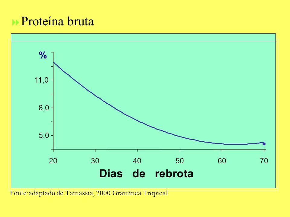 Proteína bruta Fonte:adaptado de Tamassia, 2000.Gramínea Tropical. 5,0 8,0 11,0 203040506070 Dias de rebrota %