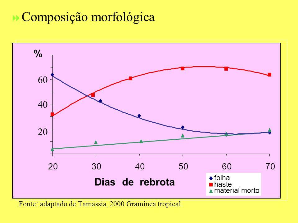 Composição morfológica Fonte : adaptado de Tamassia, 2000.Gramínea tropical. 203040506070 Dias de rebrota % folha haste material morto 20 60 40