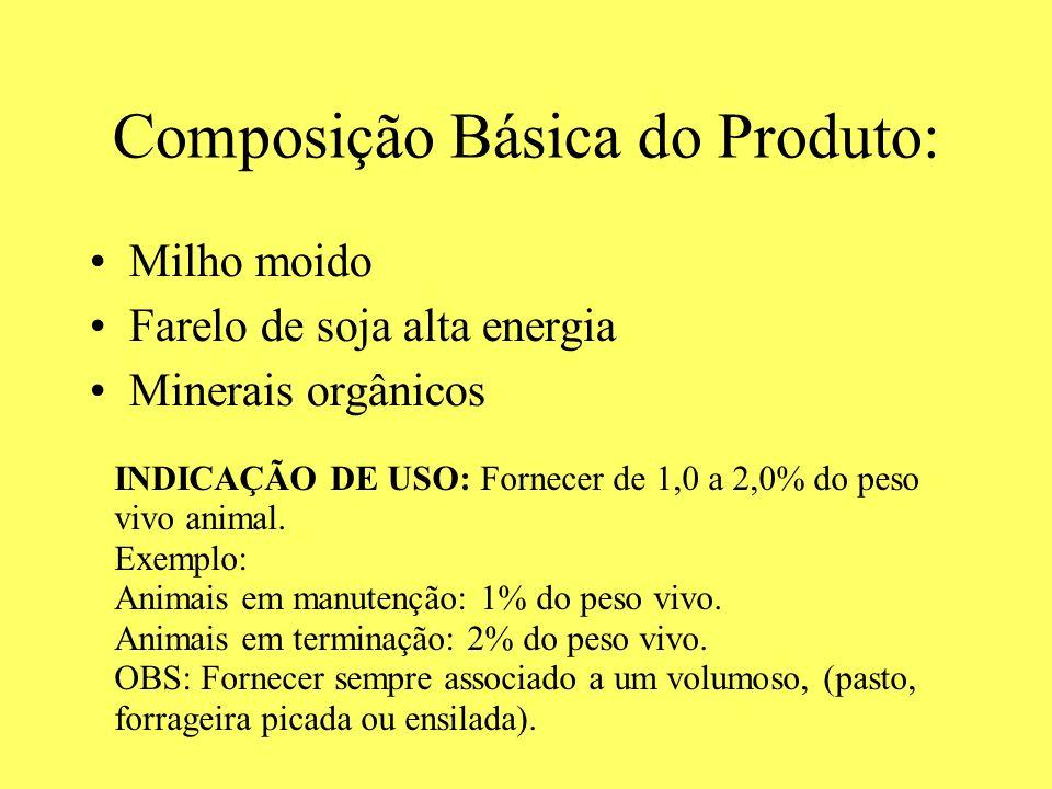 Composição Básica do Produto: Milho moido Farelo de soja alta energia Minerais orgânicos INDICAÇÃO DE USO: Fornecer de 1,0 a 2,0% do peso vivo animal.