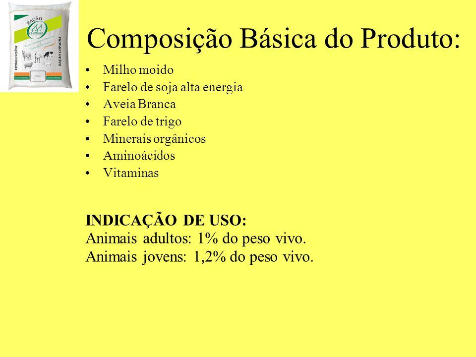 Composição Básica do Produto: Milho moido Farelo de soja alta energia Aveia Branca Farelo de trigo Minerais orgânicos Aminoácidos Vitaminas INDICAÇÃO