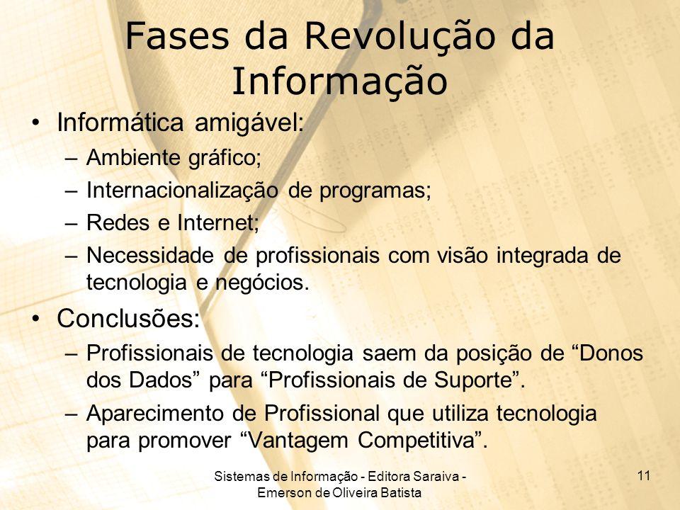 Sistemas de Informação - Editora Saraiva - Emerson de Oliveira Batista 11 Fases da Revolução da Informação Informática amigável: –Ambiente gráfico; –I