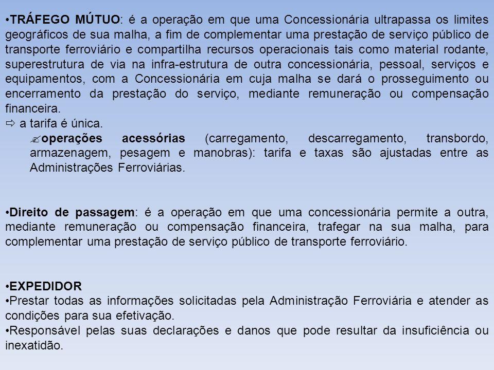 ADMINISTRAÇÃO FERROVIÁRIA Estabelecer prazo e condições para o expedidor regularizar a expedição, com exceção do que foi definido em contrato.