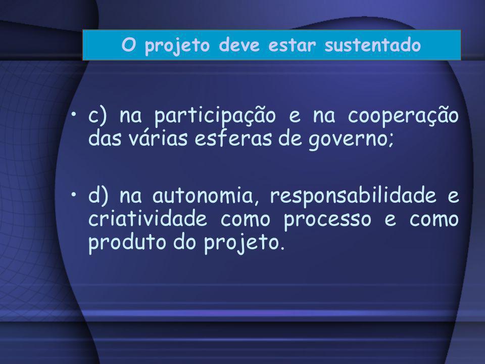 a) no desenvolvimento de uma consciência crítica; b) no envolvimento das pessoas: a comunidade interna e externa à escola; O projeto deve estar susten
