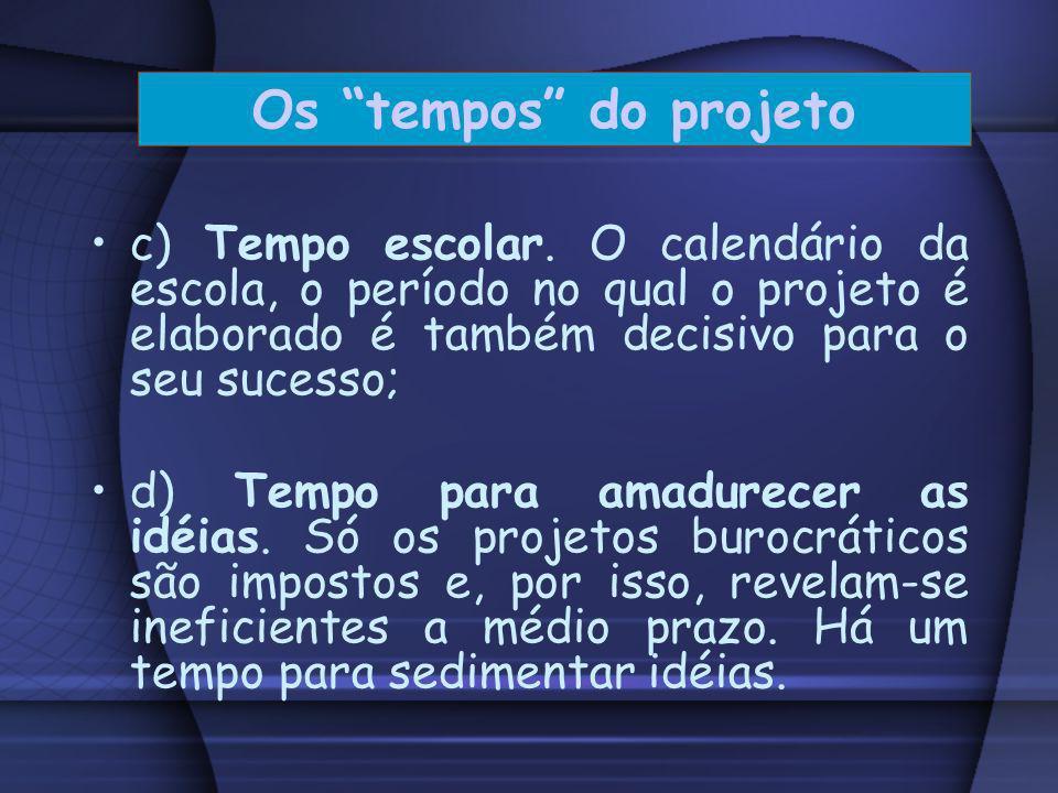 a) Tempo político que define a oportunidade política de um determinado projeto. b) Tempo institucional. Cada escola encontra-se num determinado tempo