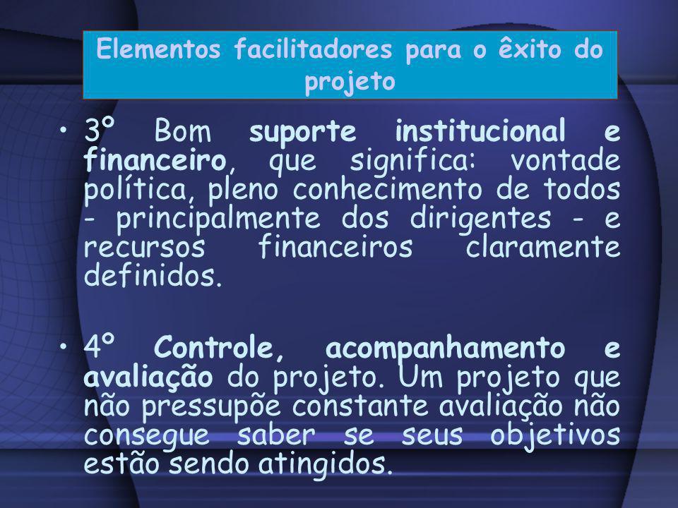 1º Uma comunicação eficiente. Um projeto deve ser factível e seu enunciado facilmente compreendido. 2º Adesão voluntária e consciente ao projeto. Todo