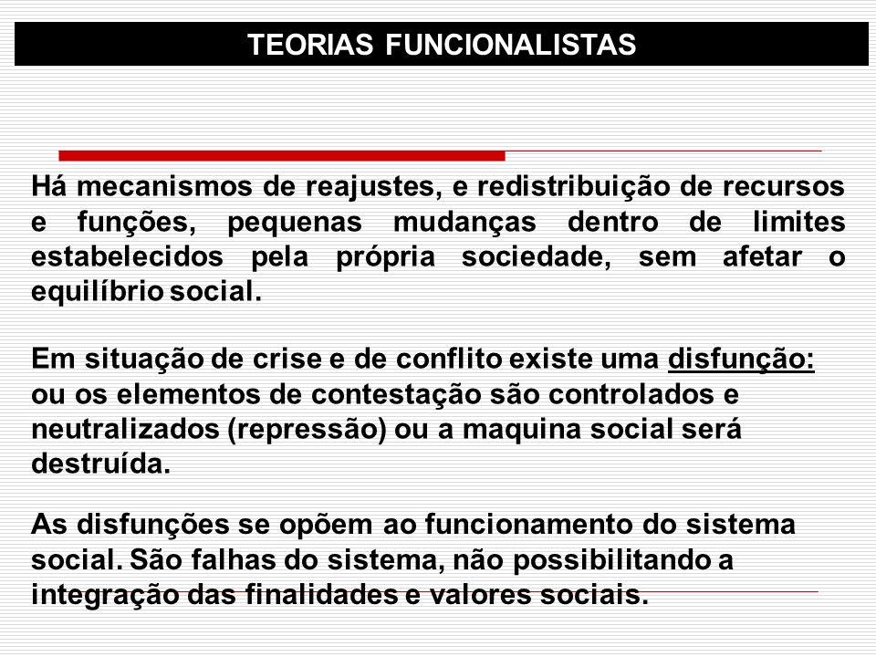 TEORIAS FUNCIONALISTAS Há mecanismos de reajustes, e redistribuição de recursos e funções, pequenas mudanças dentro de limites estabelecidos pela próp