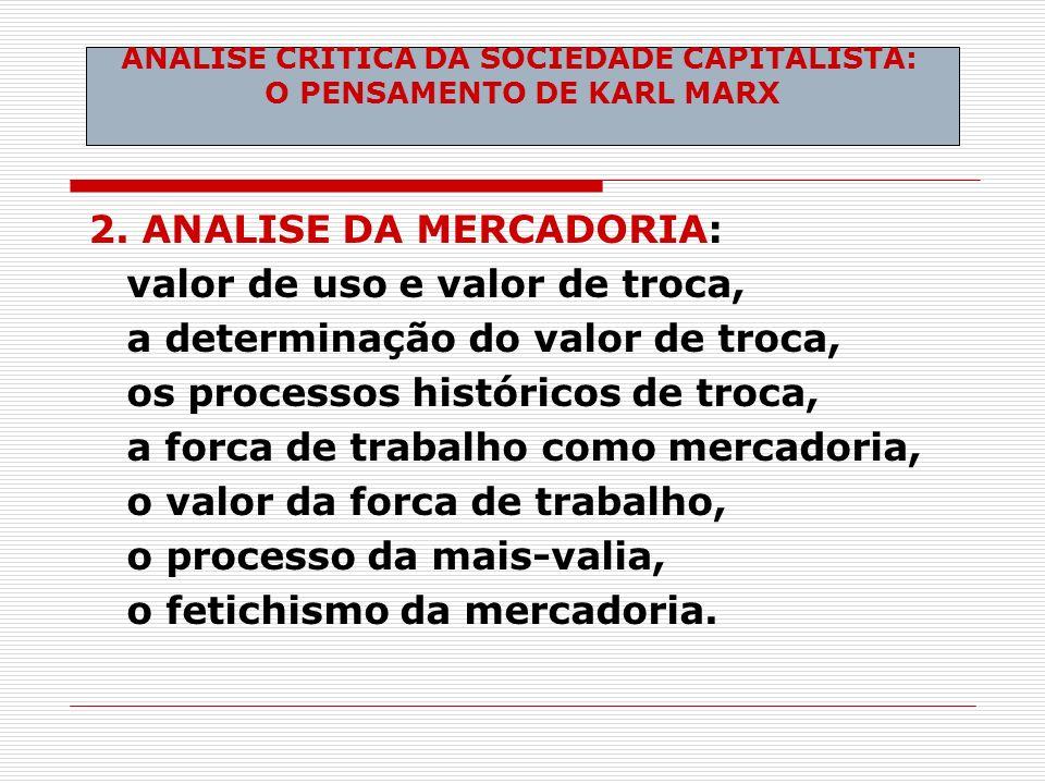 2. ANALISE DA MERCADORIA: valor de uso e valor de troca, a determinação do valor de troca, os processos históricos de troca, a forca de trabalho como