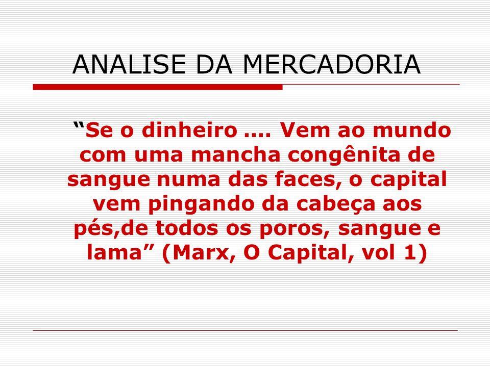 ANALISE DA MERCADORIA Se o dinheiro.... Vem ao mundo com uma mancha congênita de sangue numa das faces, o capital vem pingando da cabeça aos pés,de to