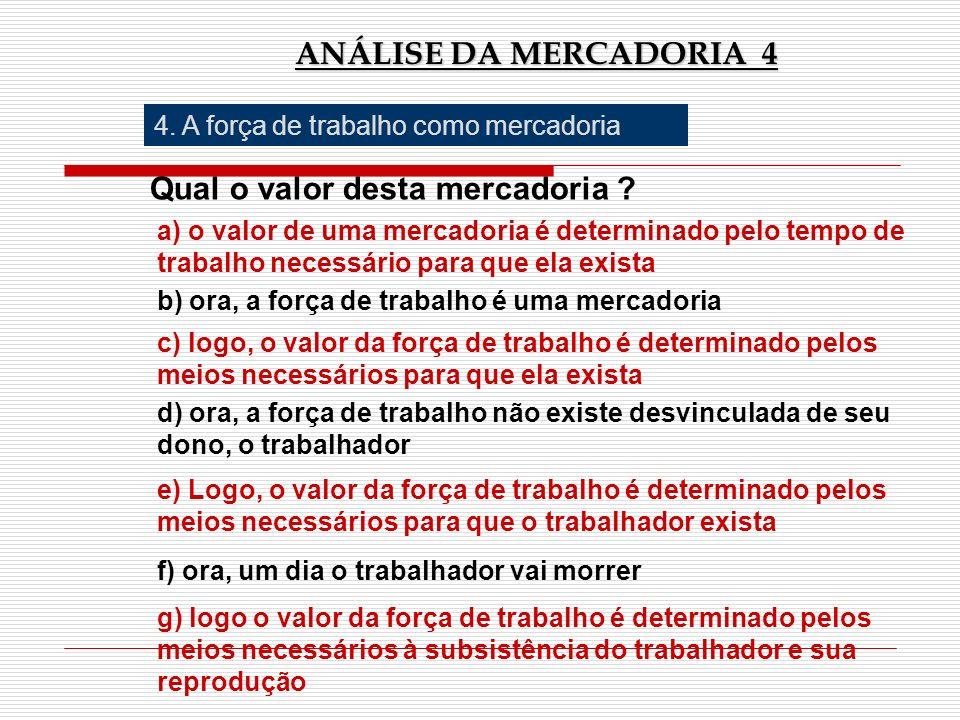 ANÁLISE DA MERCADORIA 4 4. A força de trabalho como mercadoria Qual o valor desta mercadoria ? a) o valor de uma mercadoria é determinado pelo tempo d