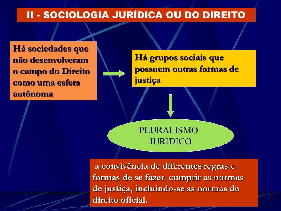 II - SOCIOLOGIA JURÍDICA OU DO DIREITO Há sociedades que não desenvolveram o campo do Direito como uma esfera autônoma Há grupos sociais que possuem o