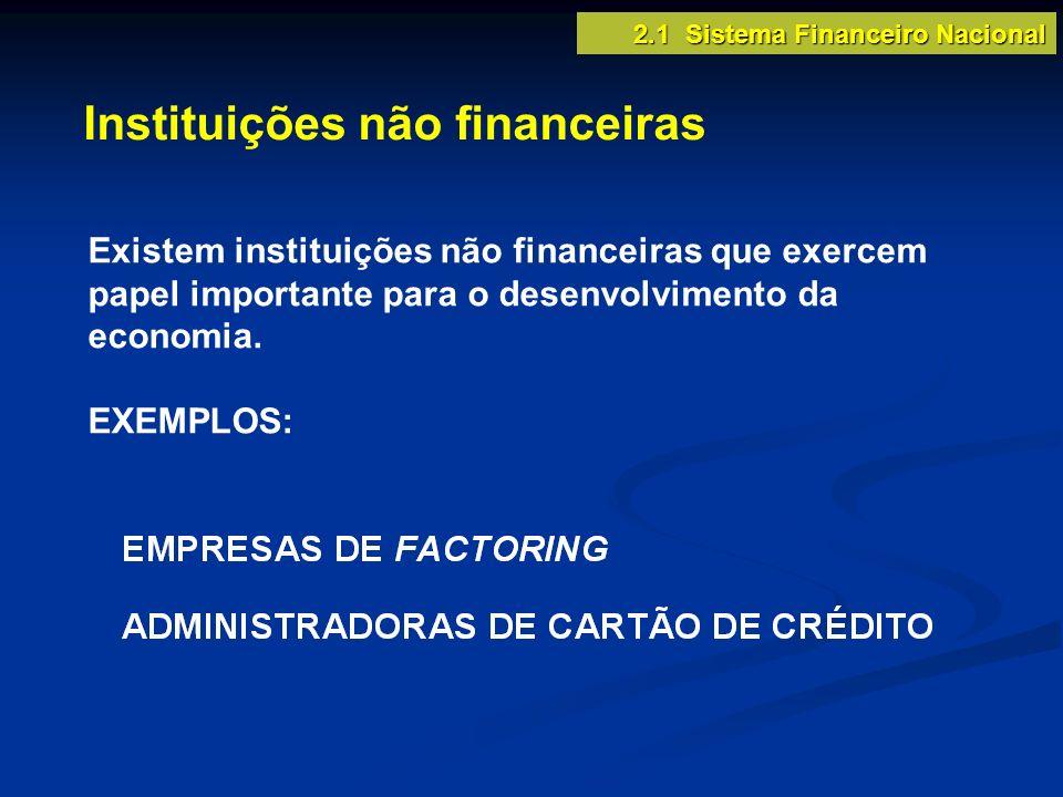 Instituições não financeiras Existem instituições não financeiras que exercem papel importante para o desenvolvimento da economia. EXEMPLOS: 2.1 Siste