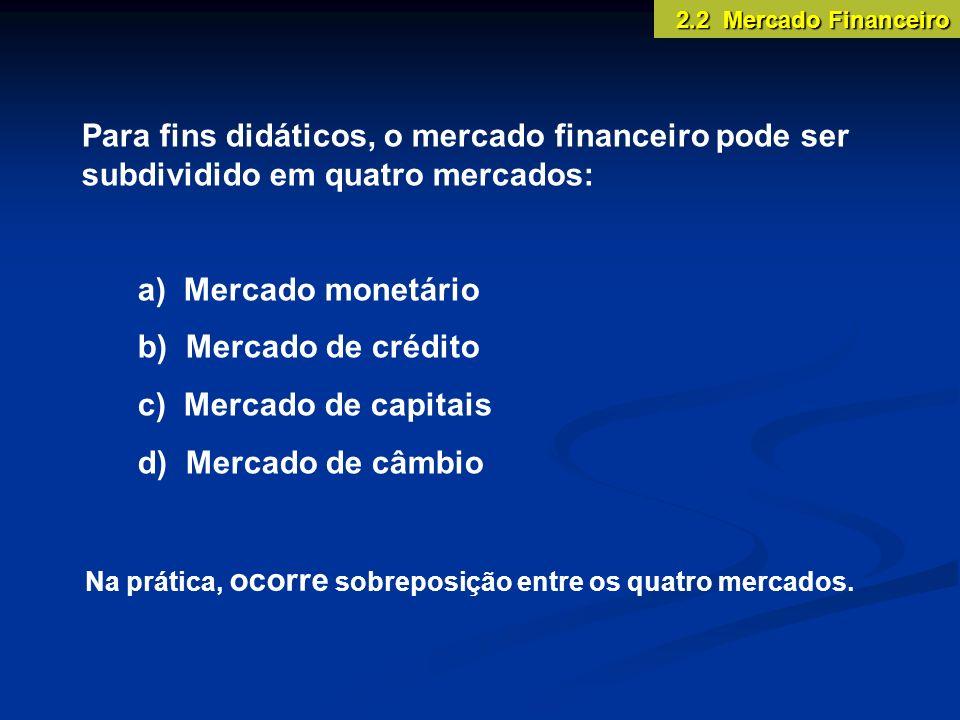 2.2 Mercado Financeiro Para fins didáticos, o mercado financeiro pode ser subdividido em quatro mercados: a) Mercado monetário b) Mercado de crédito c