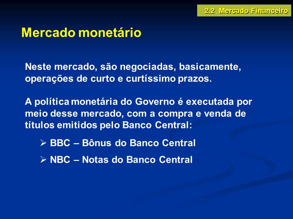 Mercado monetário 2.2 Mercado Financeiro Neste mercado, são negociadas, basicamente, operações de curto e curtíssimo prazos. A política monetária do G