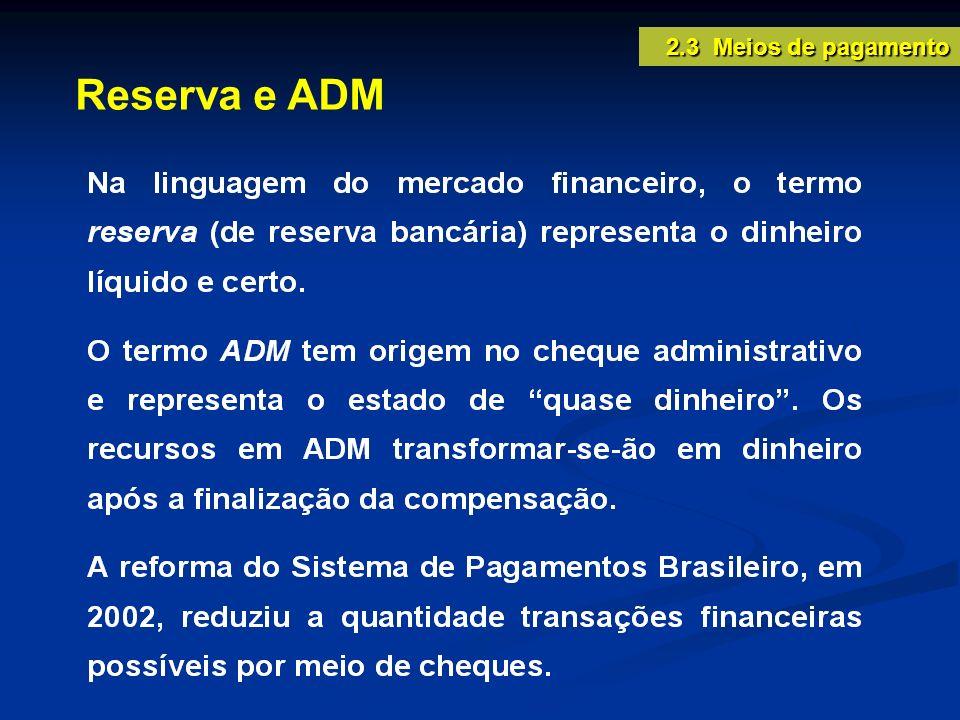 Reserva e ADM 2.3 Meios de pagamento