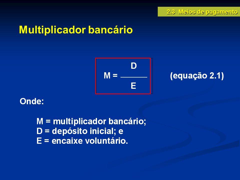 Multiplicador bancário 2.3 Meios de pagamento