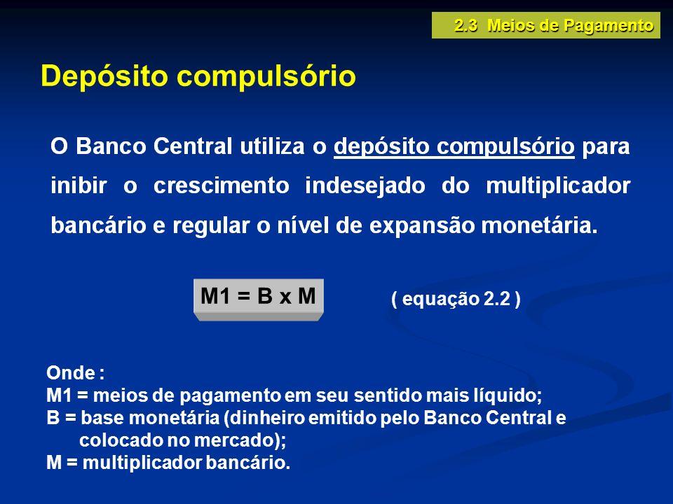 Depósito compulsório 2.3 Meios de Pagamento ( equação 2.2 ) Onde : M1 = meios de pagamento em seu sentido mais líquido; B = base monetária (dinheiro e