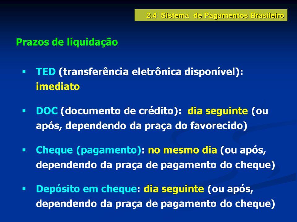 2.4 Sistema de Pagamentos Brasileiro Prazos de liquidação TED (transferência eletrônica disponível): imediato DOC (documento de crédito): dia seguinte