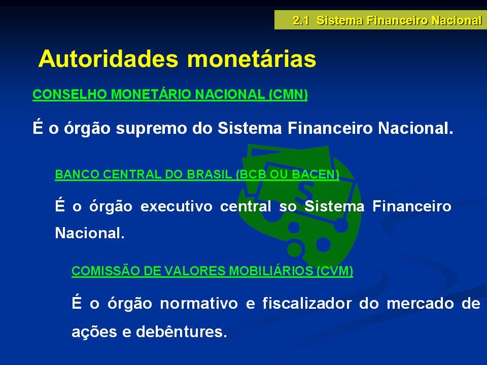 Autoridades monetárias 2.1 Sistema Financeiro Nacional